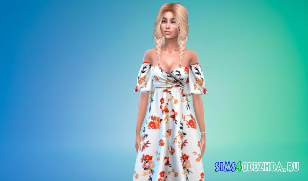 Красивое платье с цветочным принтом для Симс 4 – фото 3