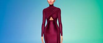 Красивое шелковое платье с длинными рукавами для Симс 4 – фото 1