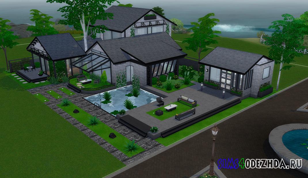 Красивый дом с беседкой для Симс 4 – фото