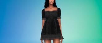 Кружевное мини-платье для Симс 4 – фото 1