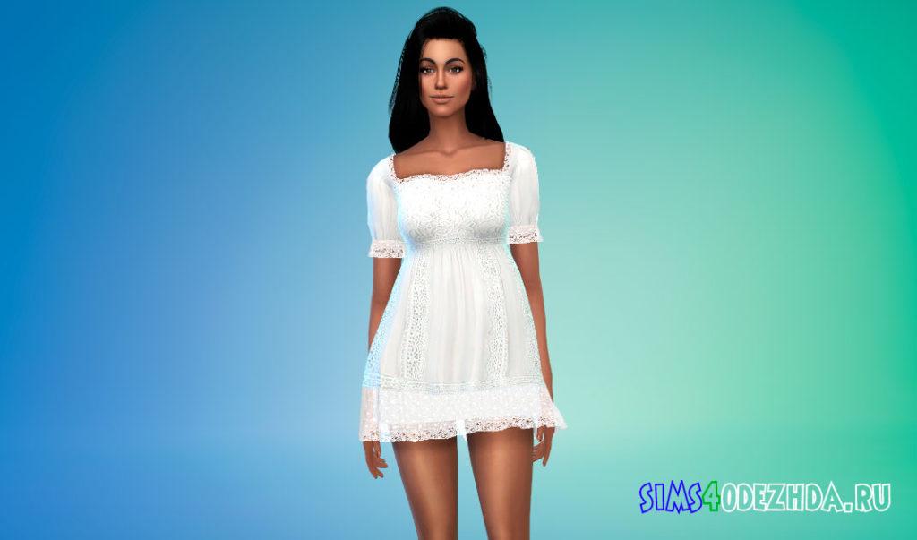 Кружевное мини-платье для Симс 4 – фото 2
