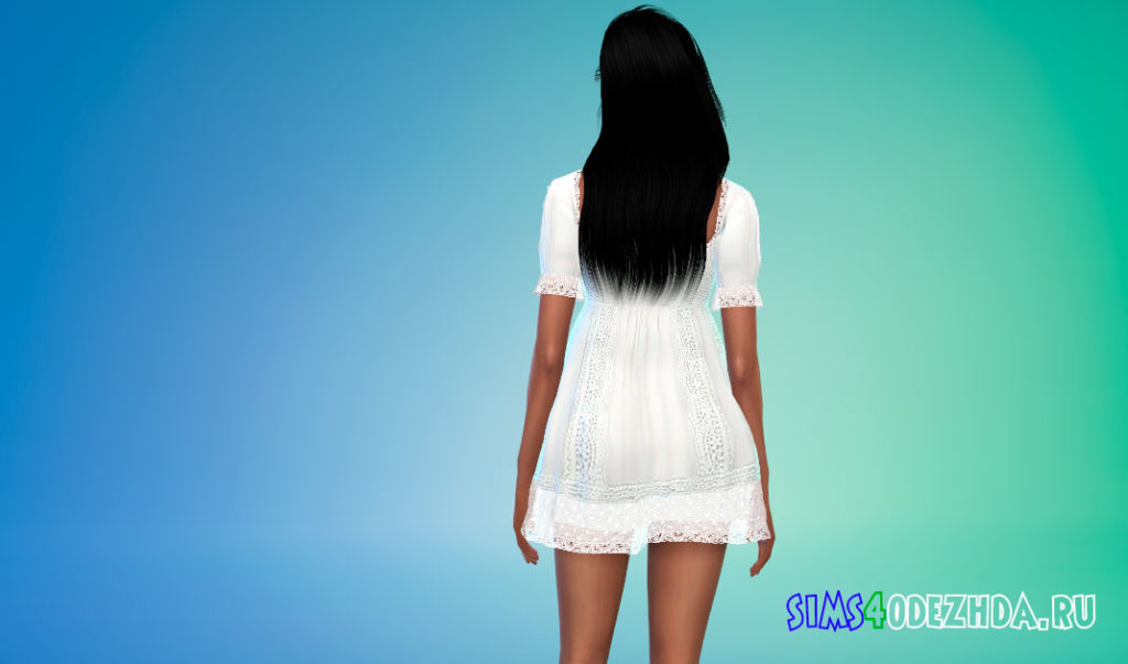 Кружевное мини-платье для Симс 4 – фото 3