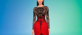 Кружевное платье Ким Кардашьян для Симс 4 – фото 1