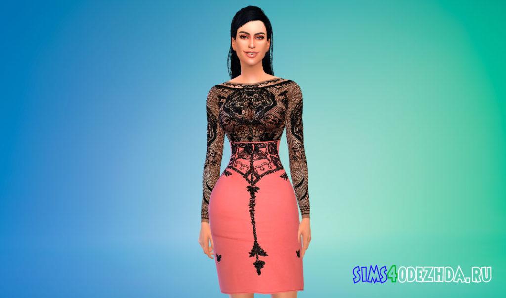 Кружевное платье Ким Кардашьян для Симс 4 – фото 2