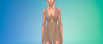 Мини-платье с глубоким v-образным вырезом для Симс 4 – фото 1