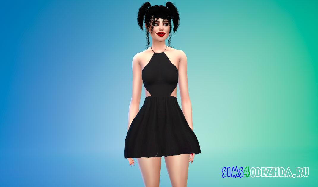 Мини-платье с лямкой на шее для Симс 4 – фото 1