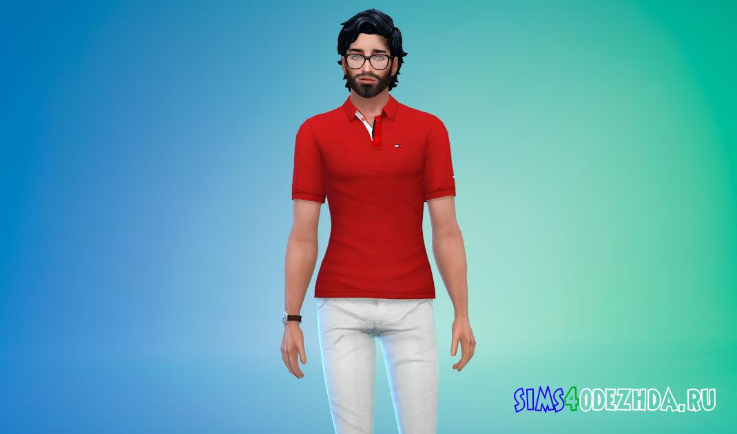 Мужская футболка-поло для Симс 4 – фото 1