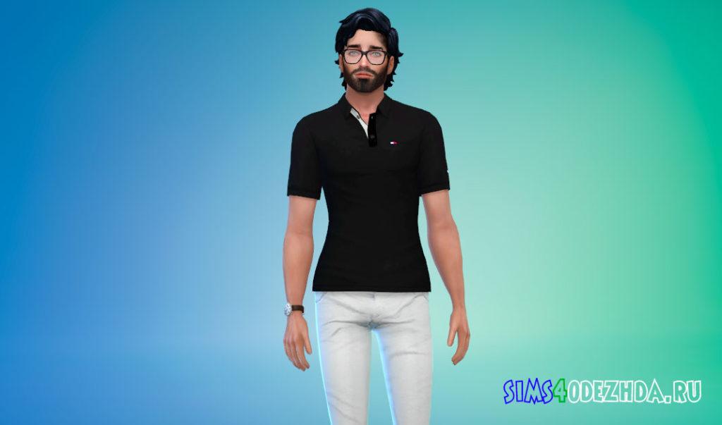 Мужская футболка-поло для Симс 4 – фото 2