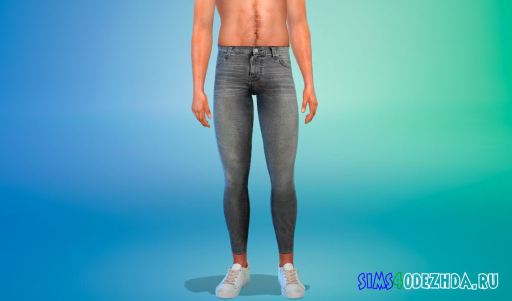 Мужские серые джинсы скинни для Симс 4 – фото 1