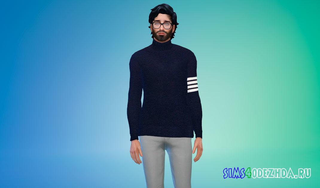 Мужской свитер с горлом для Симс 4 – фото 1