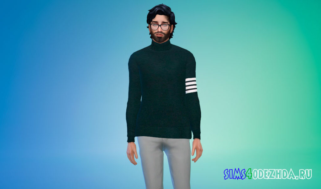 Мужской свитер с горлом для Симс 4 – фото 3