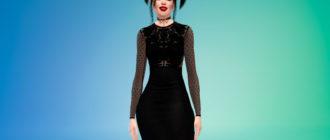 Облегающее платье-миди с кружевными элементами для Симс 4 – фото 1