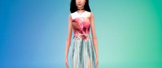 Платье без рукавов с цветочным принтом для Симс 4 – фото 1