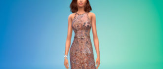 Платье-халтер с поясом для Симс 4 – фото 1