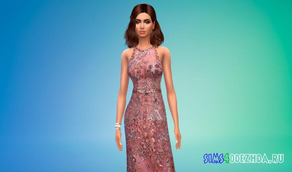 Платье-халтер с поясом для Симс 4 – фото 2