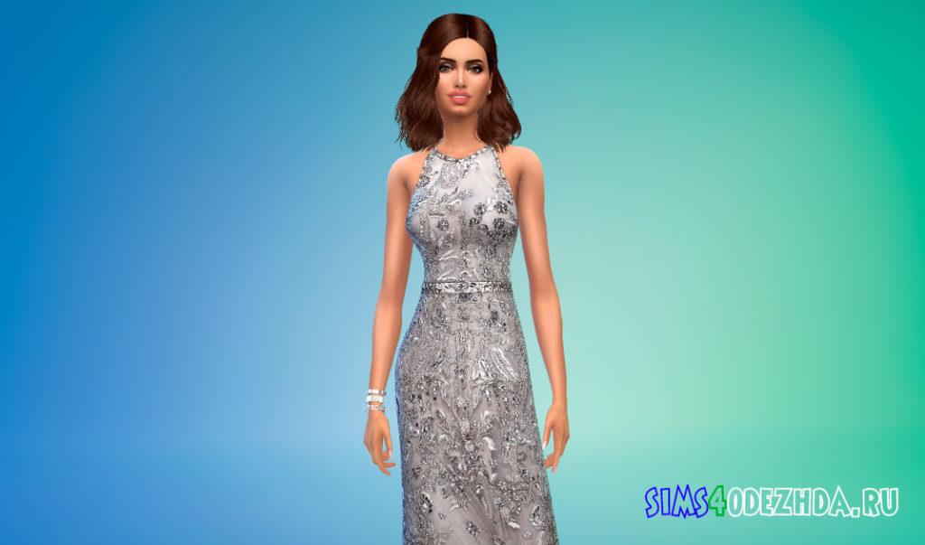 Платье-халтер с поясом для Симс 4 – фото 3