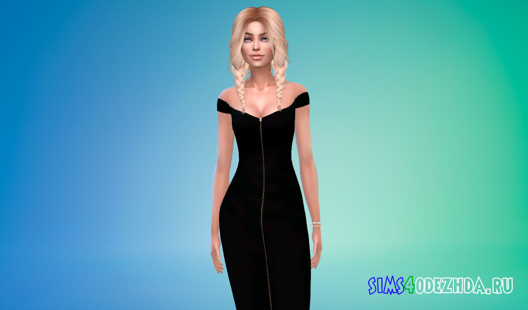 Платье-миди с молнией спереди для Симс 4 – фото 1