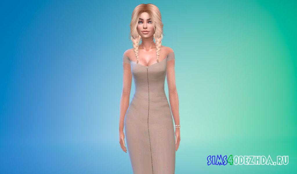 Платье-миди с молнией спереди для Симс 4 – фото 3