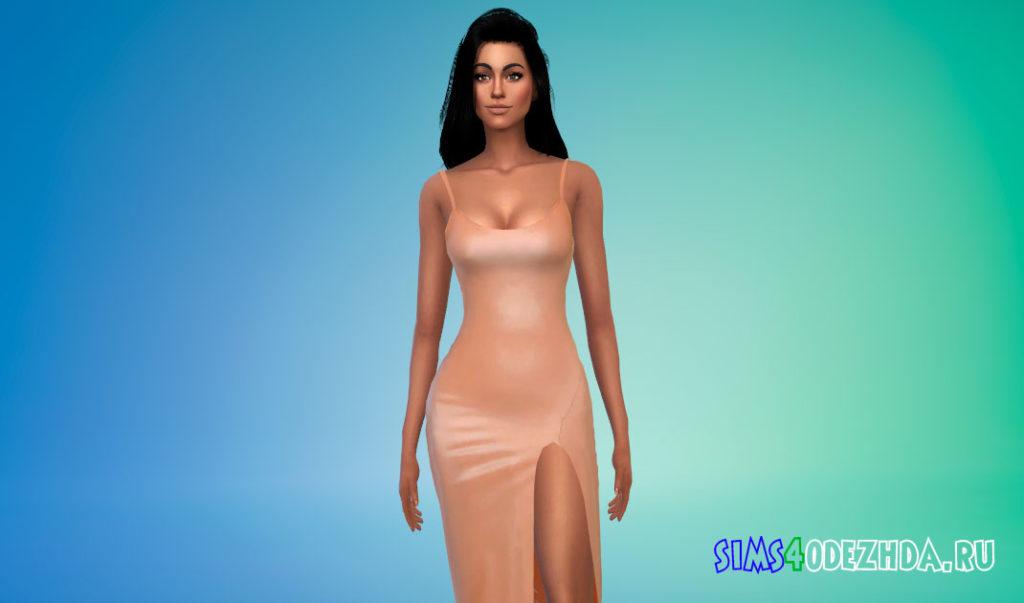 Платье-миди с вырезом на ноге для Симс 4 – фото 1