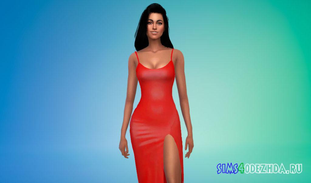 Платье-миди с вырезом на ноге для Симс 4 – фото 2