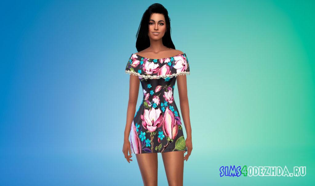 Платье с баской для Симс 4 – фото 3