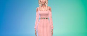 Платье с открытыми плечами и поясом для Симс 4 – фото 1