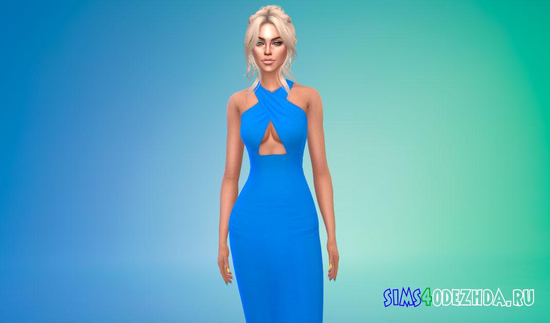 Платье с перекрестными бретелями для Симс 4 – фото 1