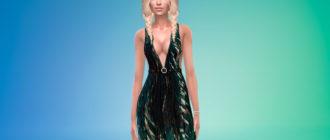 Платье с принтом пальм для Симс 4 – фото 1