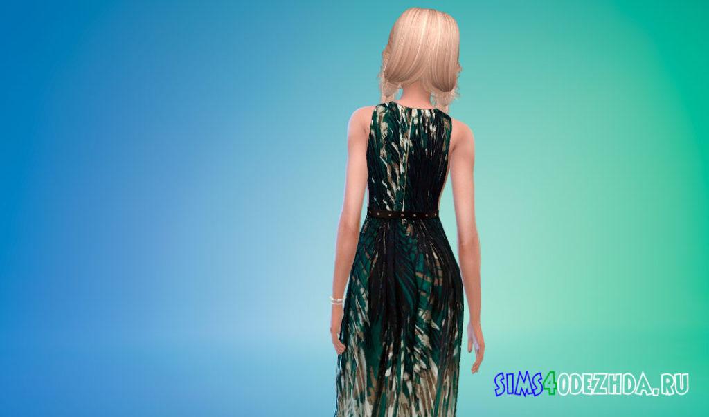 Платье с принтом пальм для Симс 4 – фото 3