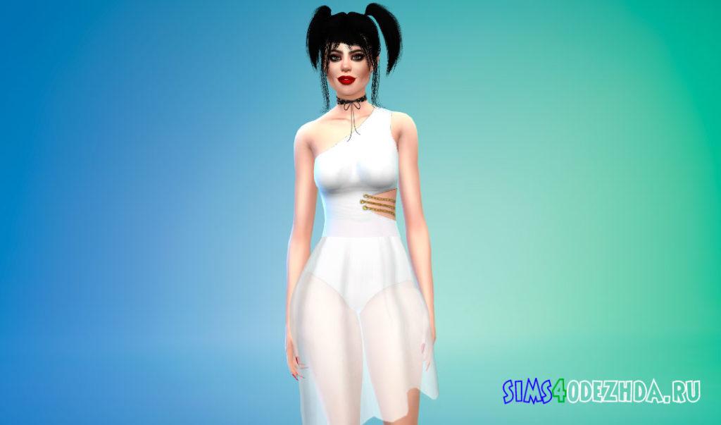 Платье с прозрачной асимметричной юбкой для Симс 4 – фото 3