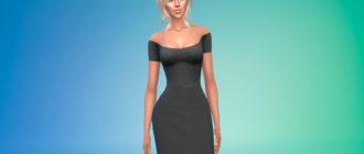 Платье со спущенными плечами для Симс 4 – фото 1