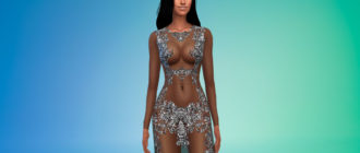 Прозрачное платье с пайетками для Симс 4 – фото 1