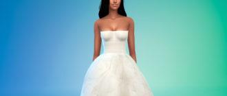 Пышное свадебное платье для Симс 4 – фото 1