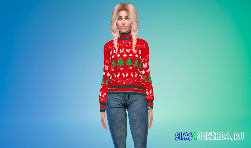 Рождественский свитер для Симс 4 – фото 1