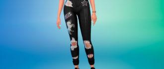 Рваные джинсы с принтами для Симс 4 – фото 1