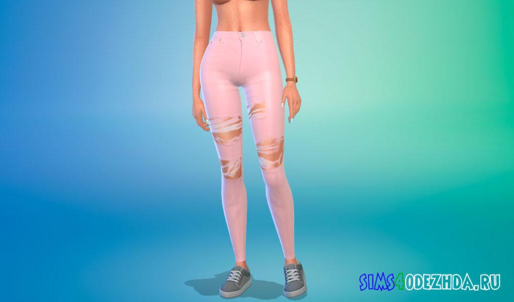 Рваные джинсы в пастельных тонах для Симс 4 – фото 1