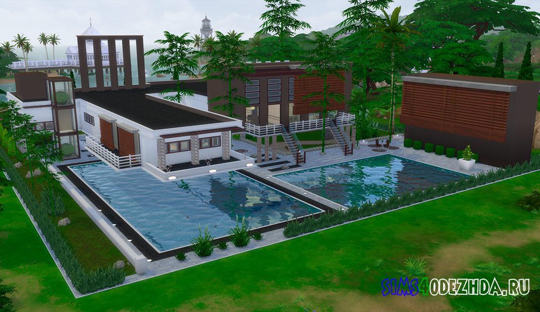 Современный дом с бассейном для Симс 4 – фото