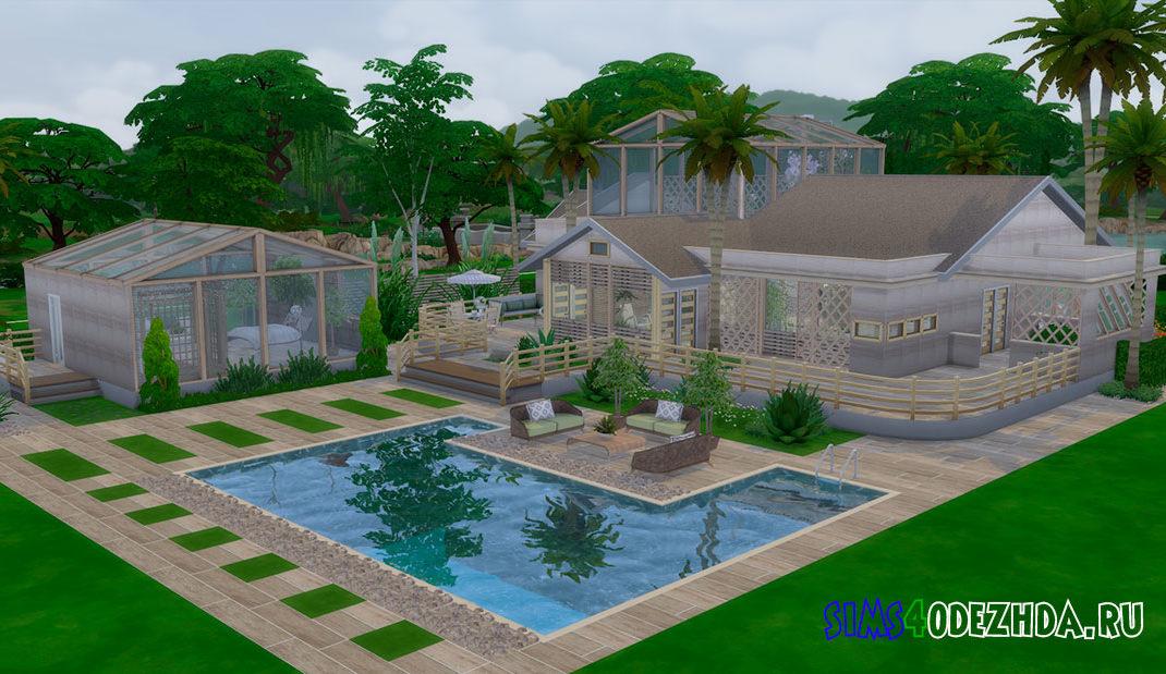 Стеклянный дом с бассейном для Симс 4 – фото