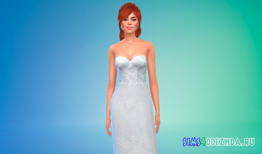 Свадебное платье без бретелек для Симс 4 – фото 1