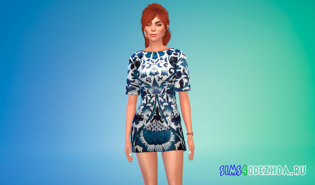 Т-образное платье-мини для Симс 4 – фото 1