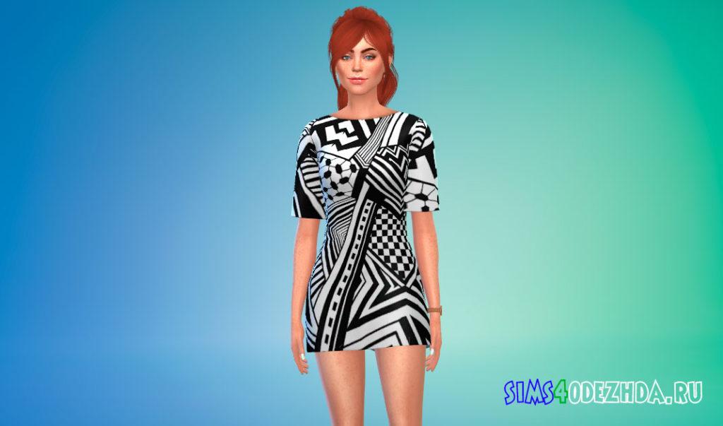 Т-образное платье-мини для Симс 4 – фото 2