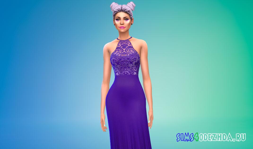 Вечернее платье с бисером для Симс 4 – фото 1