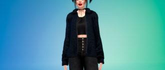 Женская куртка с ворсом для Симс 4 – фото 1