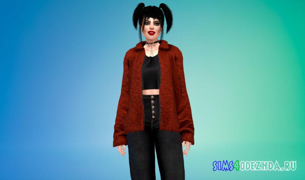 Женская куртка с ворсом для Симс 4 – фото 2