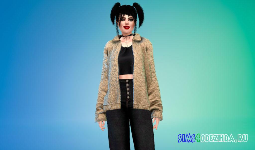 Женская куртка с ворсом для Симс 4 – фото 3