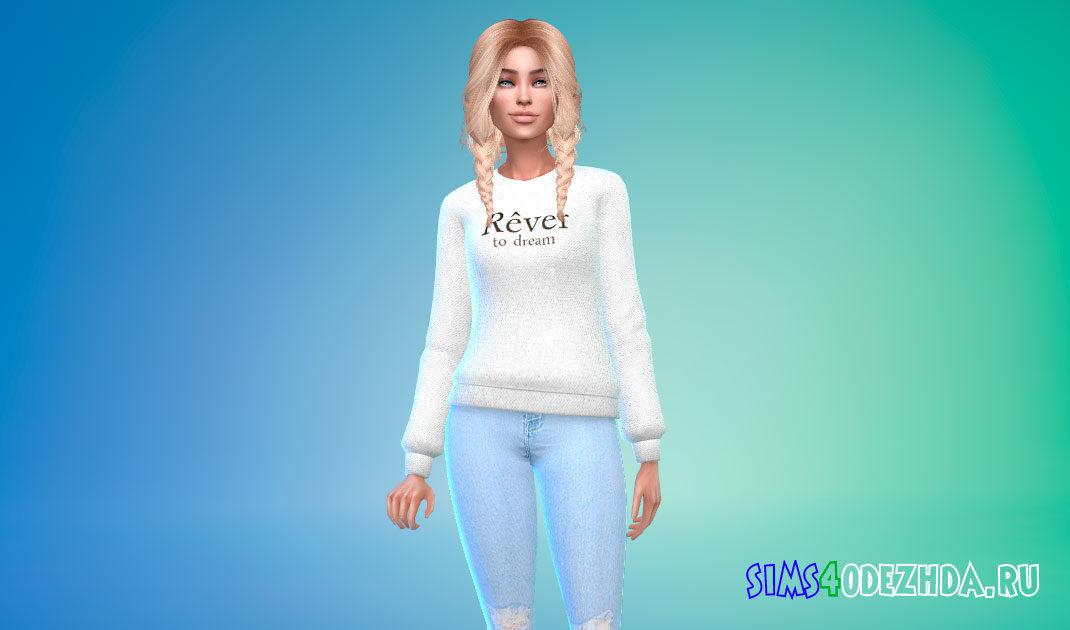 Женский свитер с надписью для Симс 4 – фото 1
