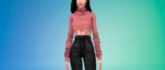Женский укороченный свитер для Симс 4 – фото 1