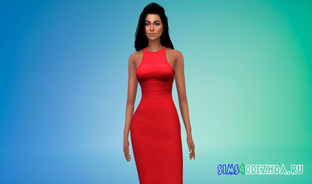 Женское платье с открытой спиной для Симс 4 – фото 3