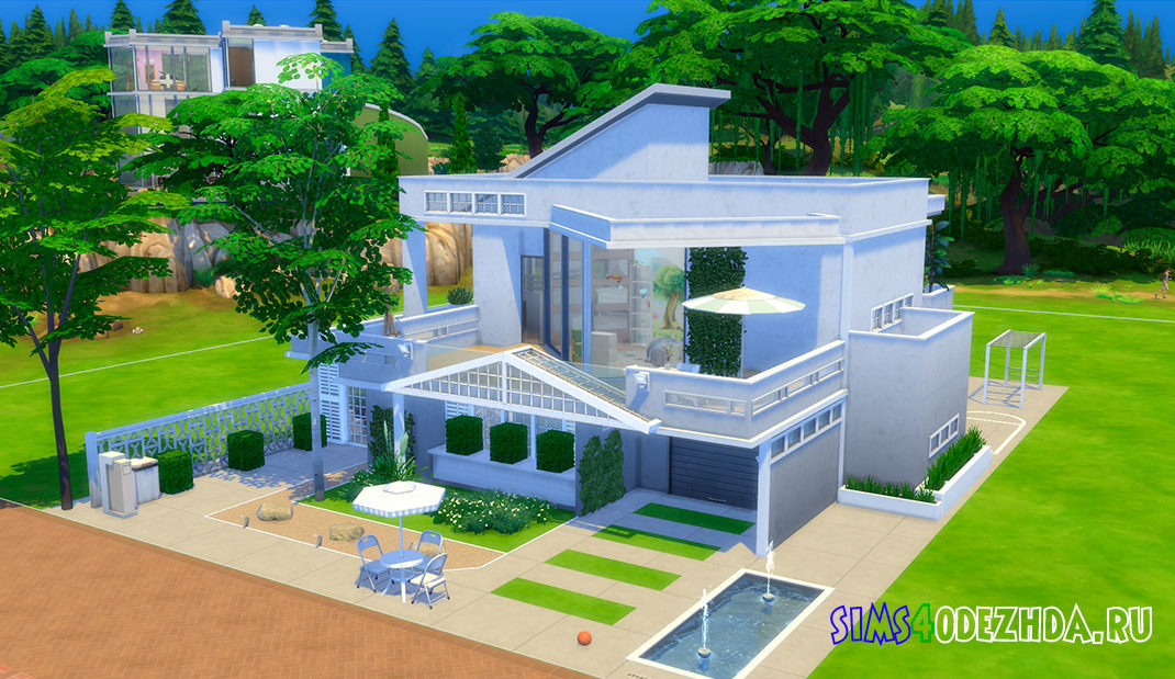 Белый дом в стиле лофт для Симс 4 - фото