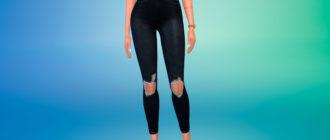 Черные рваные джинсы для Симс 4 – фото 1